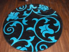 MODERN NEW 140X140CM CIRCLE RUG WOVEN BACK HAND CARVED BLACK/TEAL DEMASK RANGE